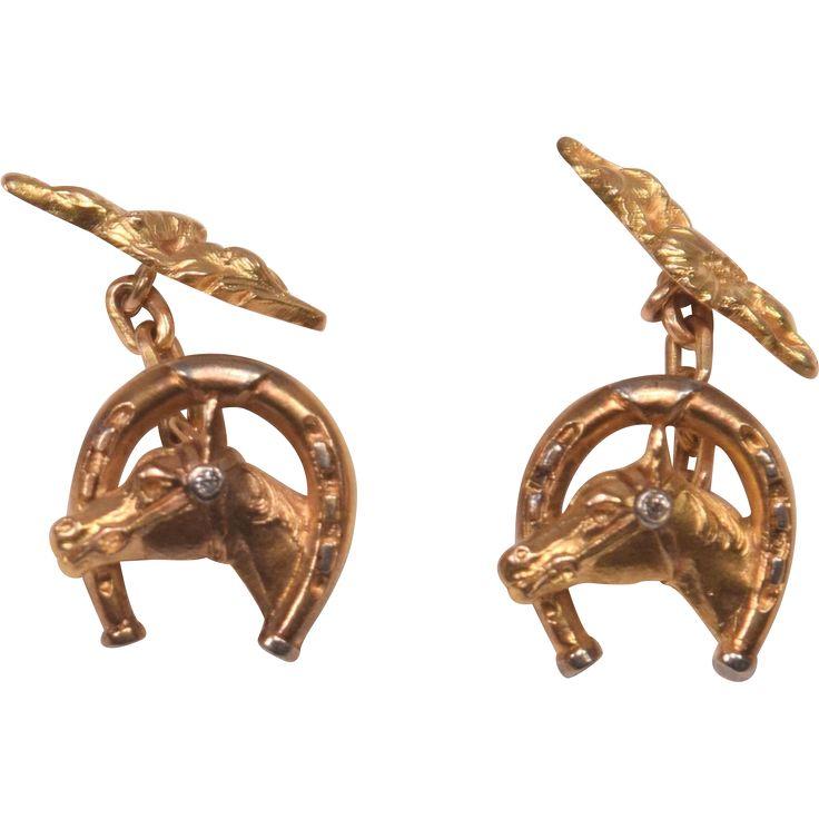 Superb Art Deco 18K Gold  Diamond Horse Head/Horseshoe Cufflinks.  There is a .03 carat old rose cut white diamond platinum set on the horse's bridle