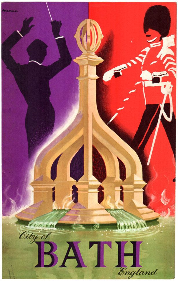 Bath England Cover Art Royal Guard Fountain Orchestra Conductor 1961 Illustration Home Decor Wall Art Home Living Collectible Graphic Arts by paperink on Etsy
