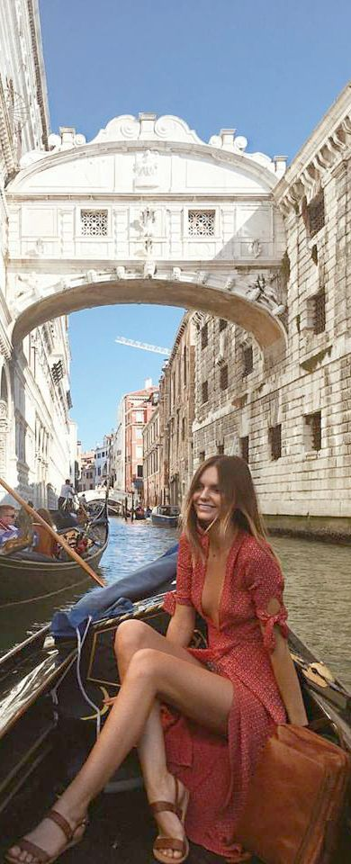 Holy cow! I want to wear this amazing dreamy red maxi wrap dress in Gondola ride <3. This looks like a scene from a rom com