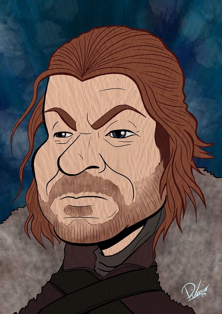 Sean Bean as Ned Stark in #gameofthrones - caricature by Ribosio.