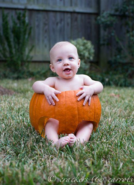 Baby in a pumpkin | chocolateandcarrots.com/crackersandcarrots