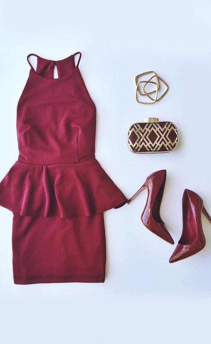 Mischievous Maiden Burgundy Peplum Dress