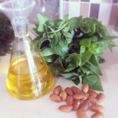 Dairy free basil pesto made with almonds by by the www.thewannabecook.com #easy #paleo #healthy