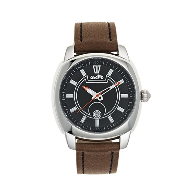 Oxette stainless steel Watch & brown leather band - Available online here: http://www.oxette.gr/rologia/watch-unisex-brown-black-s.steel-478l-1/ #watch