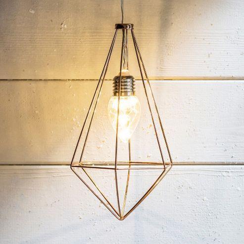 Battery Copper Geometric Diamond LED Pendant Light