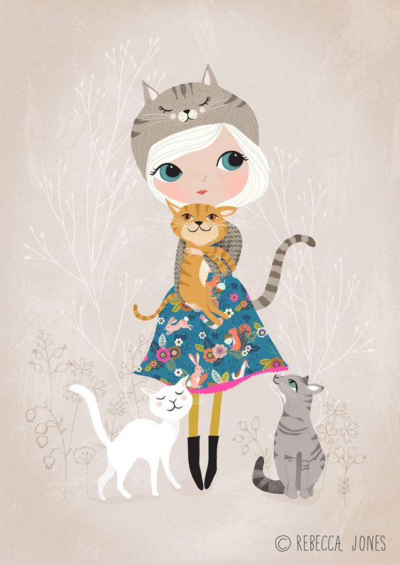 A cat loving girl, wearing a dress made from my Cuckoo Folk fabric. Available as an art print in my shop.