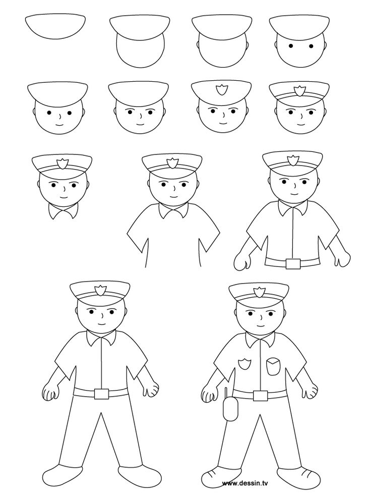 Politie tekenen, stap voor stap met kleuters, thema politie 5 , kleuteridee.nl, met gratis download, Kindergarten drawing policeman, Police theme