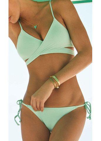Light Green Strappy Wrap Bikini Set