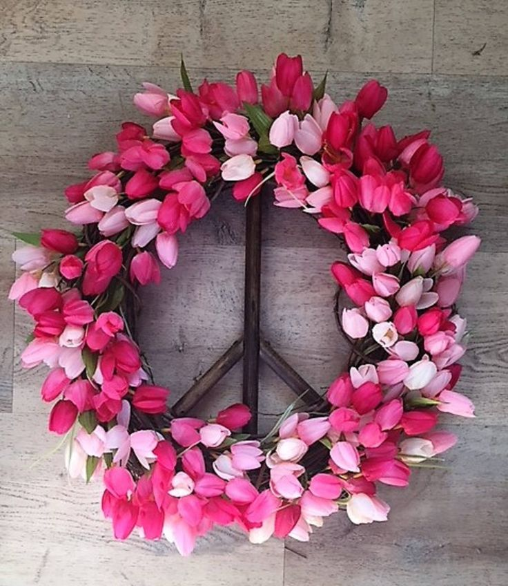 Pink & Red Tulip Peace Sign Wreath, Peace Sign, Tulip Wreath, Spring Wreath, Peace Sign, Valentines Wreath, Peace Wreath, Grapevine wreath by AmericanGreenCrafts on Etsy