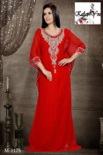 Beautiful Red Kaftan, with heavy hand beading around the neck and sides. Shiny white and Ruby crystal like beads. www.kaftan4you.com