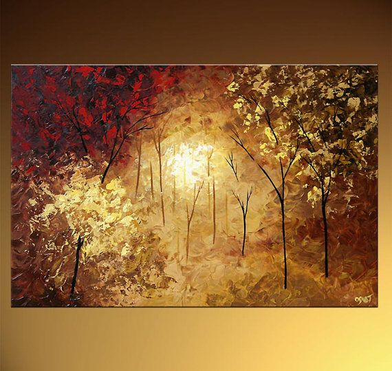 Artículos similares a Paisaje florido árbol pintura Original abstractos modernos espátula texturado por Osnat - confeccionar - 36
