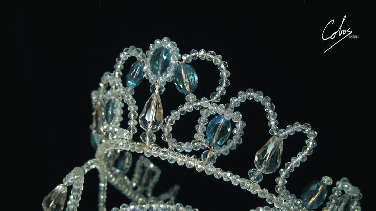 Stage costumes. Princess tiara/crown. Ballet headpiece. Swarovski crystal: clear, pink and blue. Cobos Costumes.