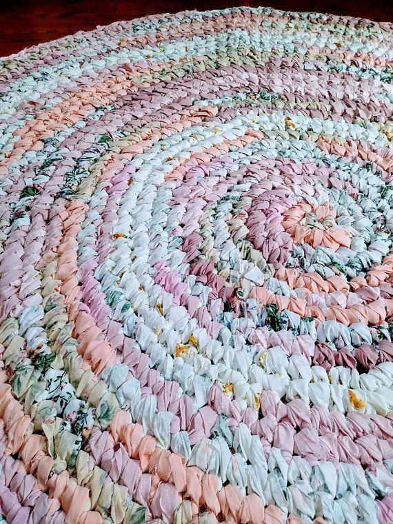 Large Rag Rug 6ft Round Girls Area Rug Girls Bedroom Decor Shabby