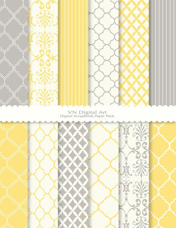 Love the color combo of gray and yellow, especially mixed with these very traditional patterns.