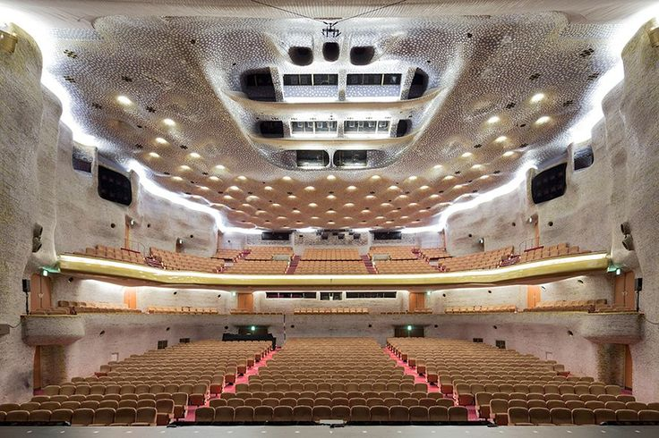 The interior of the 1963 Nissay Theatre, a postwar jewel by architect Togo Murano.
