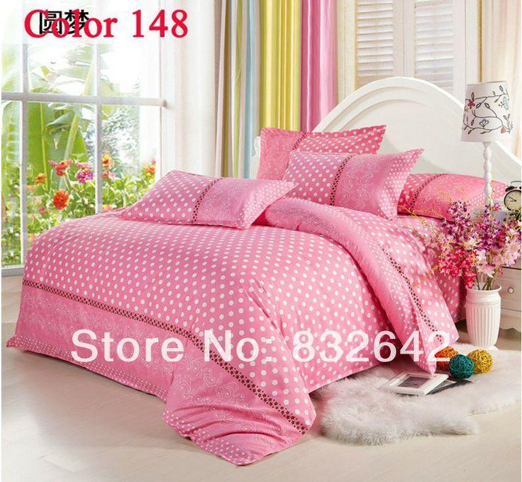 cama de rosa com pontos brancos completa rainha cama king size conjunto colcha 4 pcs têxteis lar conjuntos de cama de algodão lençóis livrem...