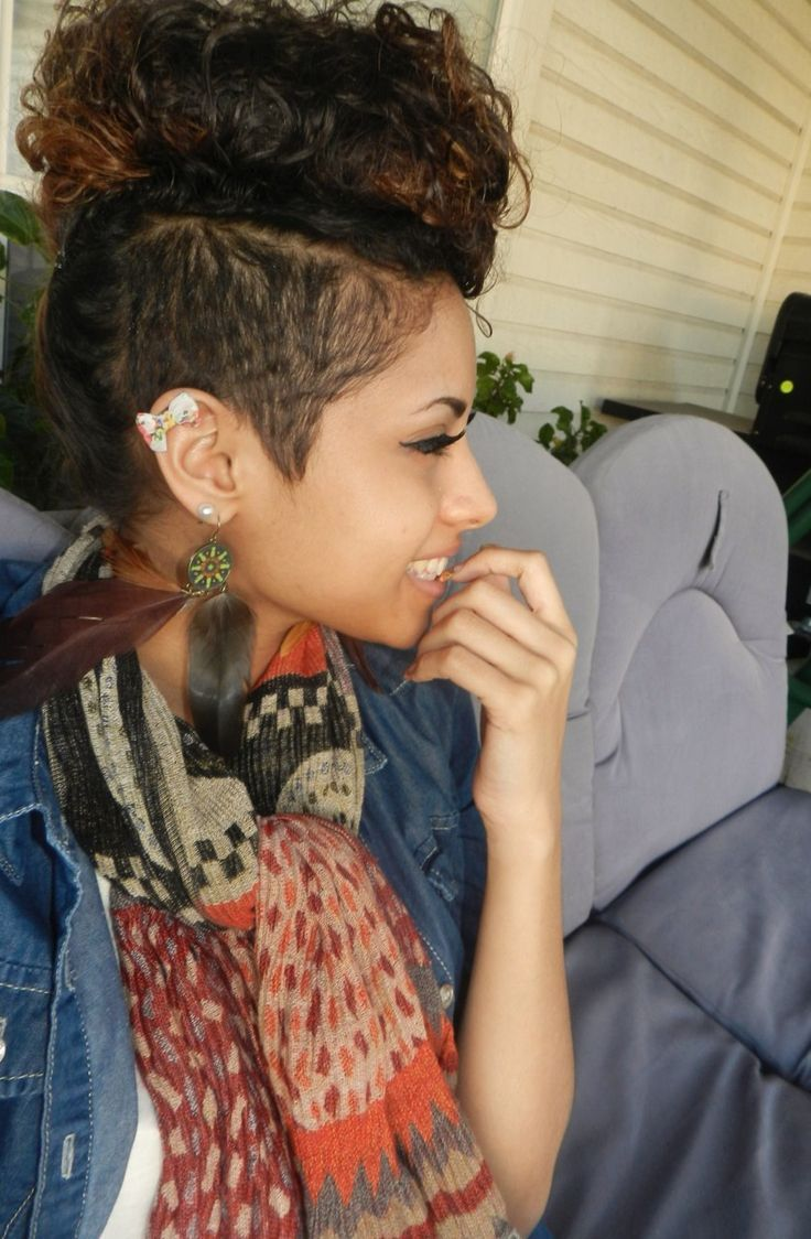 Interesting Trend Half Shaved Curly Mohawk Hairstyles For Women