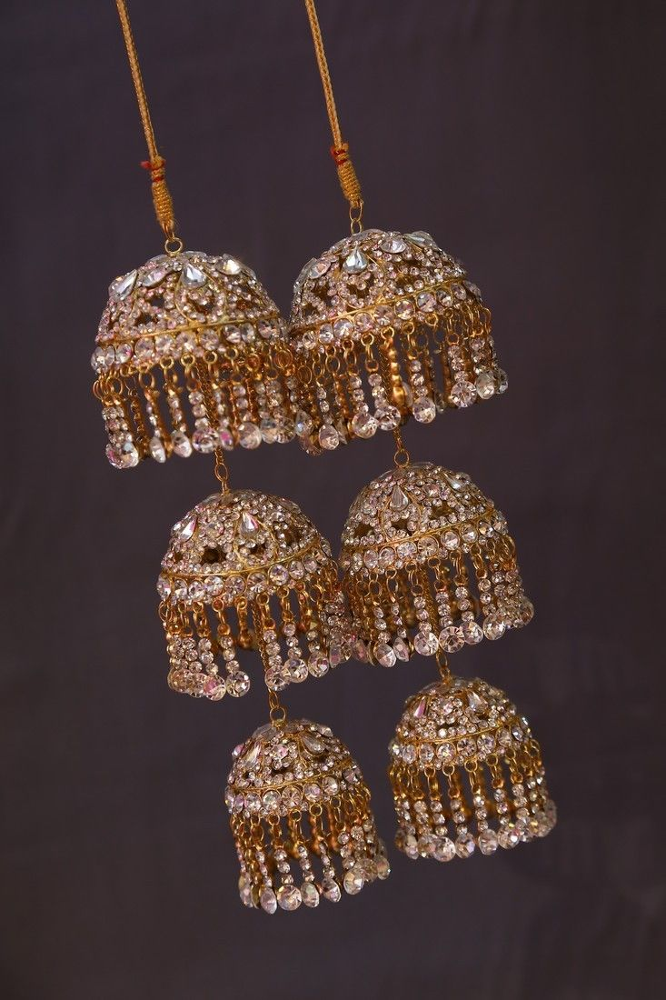 Punjabi Bridal Golden Kalire(Umbrella Shaped bangle trinklets with three cones) Price:4,300INR