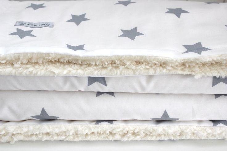 Tagesdecken - Traumhafte Kuscheldecke XXL★Maxi Sterne★weiss/grau - ein Designerstück von WhiteTeddy bei DaWanda