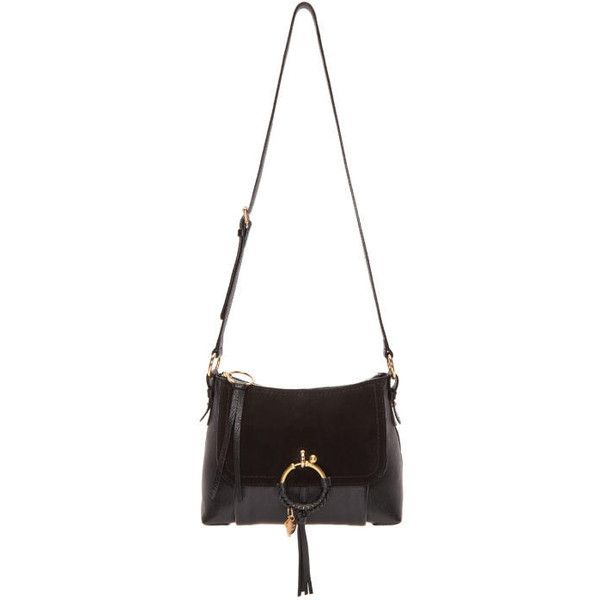 See by Chloé Black Charm Bag found on Polyvore featuring polyvore, women's fashion, bags, handbags, shoulder bags, black, zipper handbags, see by chloe handbags, studded purse and zip purse