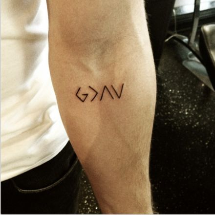 """Nick Jonas Tattoo """"God is Greater than the Highs and Lows"""""""