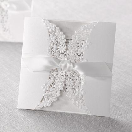 Wedding Invitations - Silver | Laser Cut Floral Wrap | B Wedding Invitations