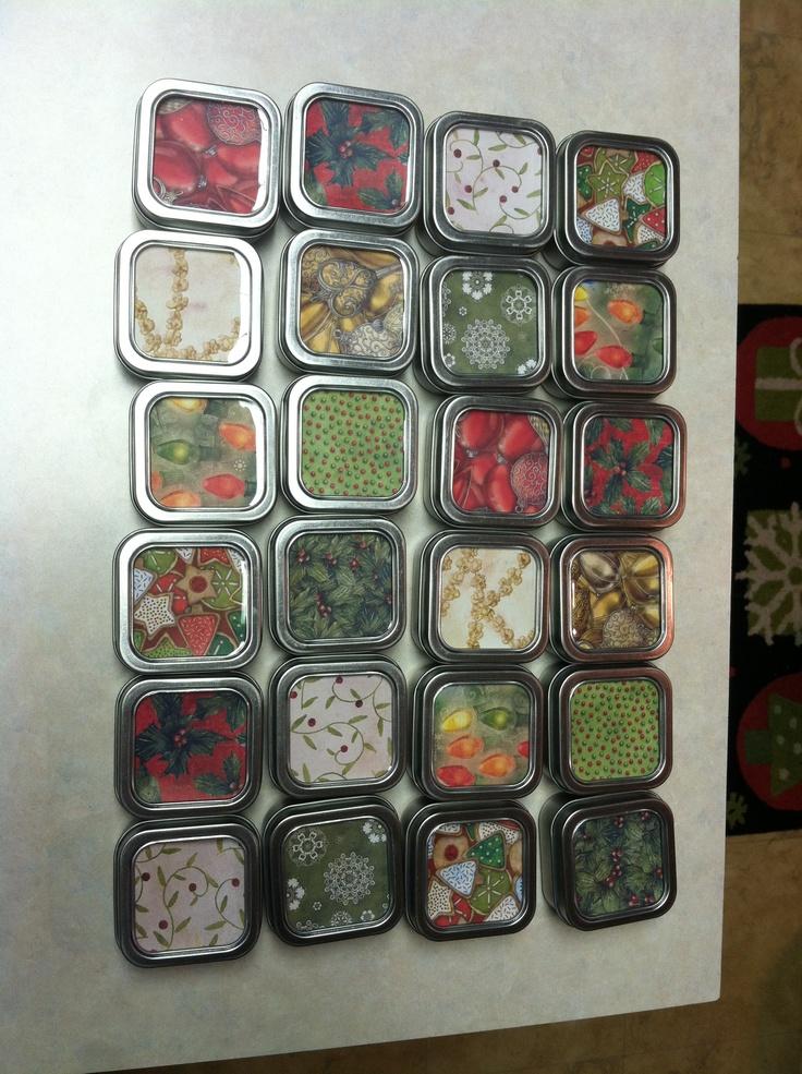 Diy Calendar Michaels : Diy advent calendar michaels square favor tins cover