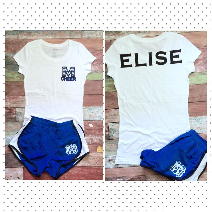 Great idea for cheer camp! Monogrammed Cheer Camp Top and Shorts, You Customize, Team Orders Welcome, Cheer Bow, Monogrammed Cheer Shorts, Shirt by PoshPrincessBows1 on Etsy