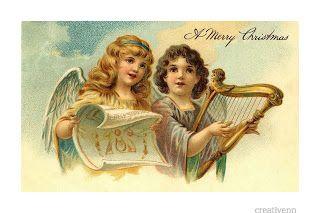 Опять старинные открытки. Рождественские с ангелами..
