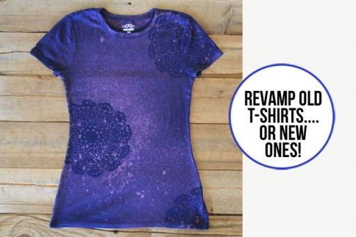 Revamp t-shirts using bleach stenciling nice way to save shirts that have bleach stains but still fit well