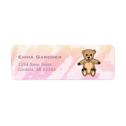 Cute Teddy Bear Name Birthday Party Label - birthday gifts party celebration custom gift ideas diy
