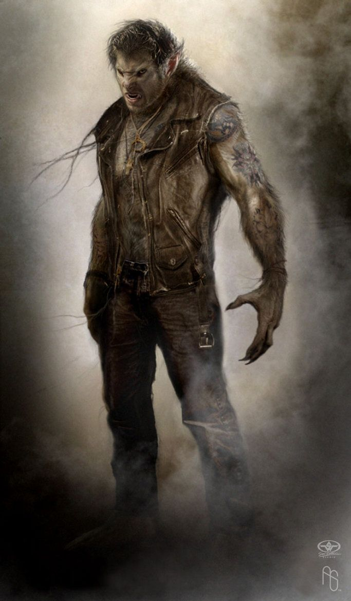This is a fantastic full body shot of a werewolf who looked fully human just a moment ago, but now he is getting pissed!
