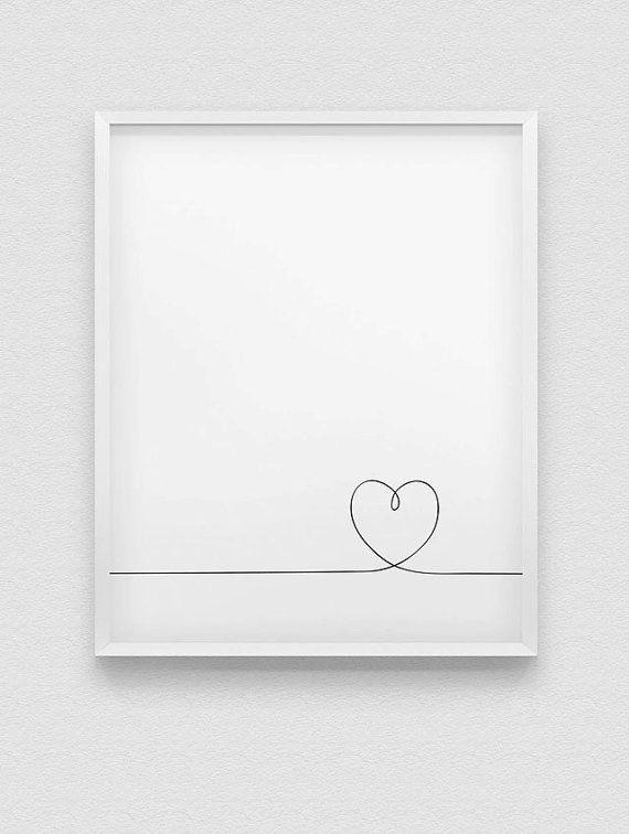 impression de coeur / / love imprimer / / noir et blanc minimaliste mural décor / / romantique art de mur / / ligne coeur imprimé / / ligne illustration de coeur
