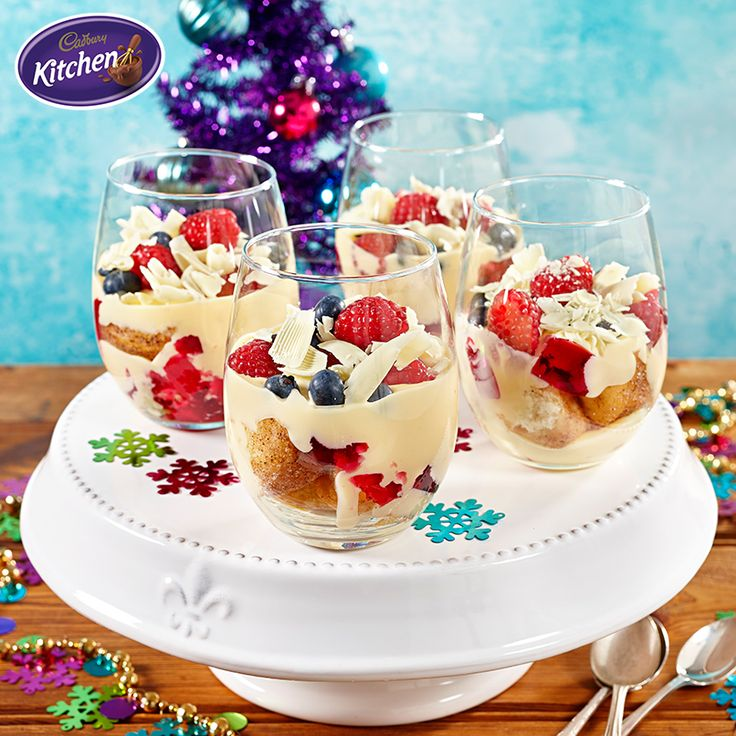 Having friends over for a festive gathering? With fruit, chocolate, custard and donuts...what's not to love about these charming Cinnamon Donut Trifles?  #trifle #summer #recipes #baking #desserts #cadbury #chocolate  #christmasrecipe