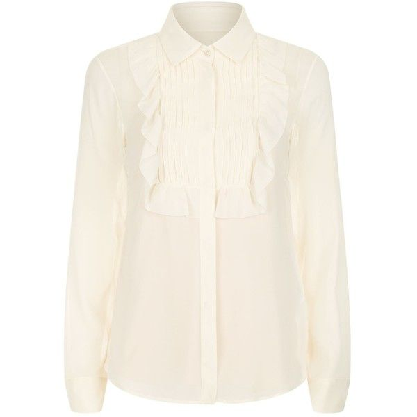 Valentino Pleated Ruffle Blouse (26,420 PHP) ❤ liked on Polyvore featuring tops, blouses, flounce tops, white tops, white ruffle blouse, white flounce top and white ruffle top