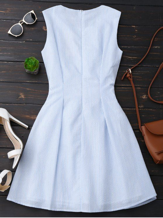 Sleeveless Striped Bowknot Dress BLUE STRIPE: Dresses 2017 | ZAFUL