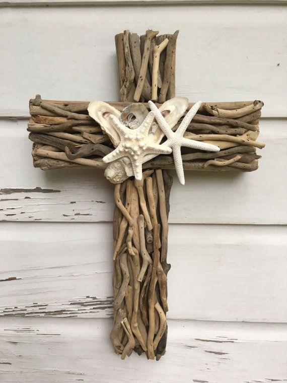 Driftwood seashell cross beach wedding cross driftwood for Driftwood wall decor