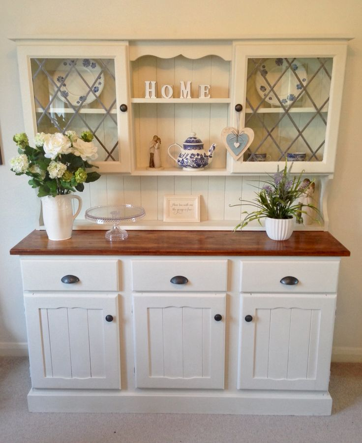 Upcycled Welsh Dresser Painted With Annie Sloan Chalk Paint In Old White