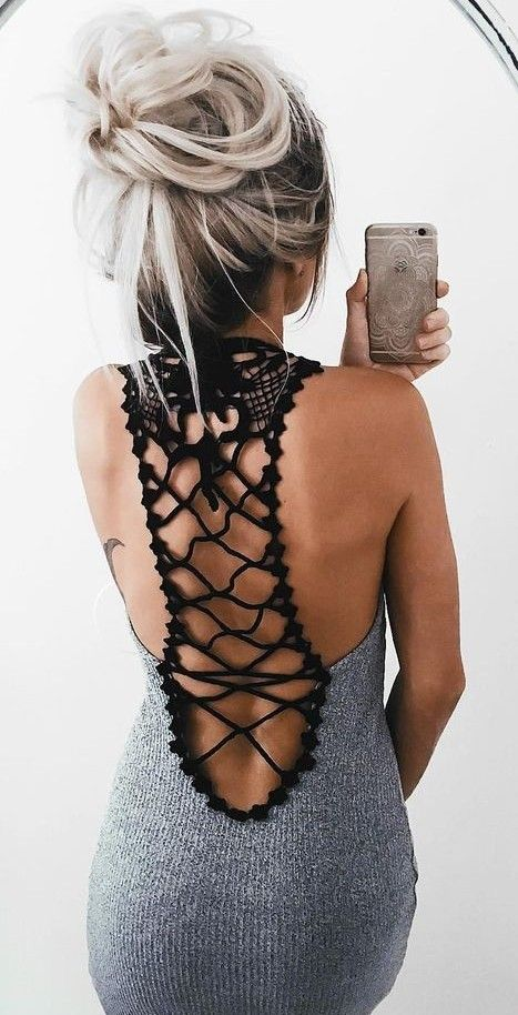 #summer #ultimate #outfits | Black Crochet + Grey Knit