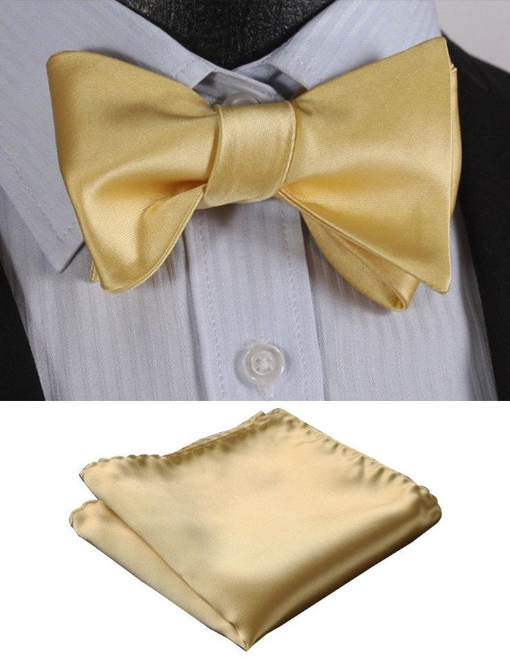 100% Yellow Silk Self Tie Bow Tie   Pocket Square (Optional)