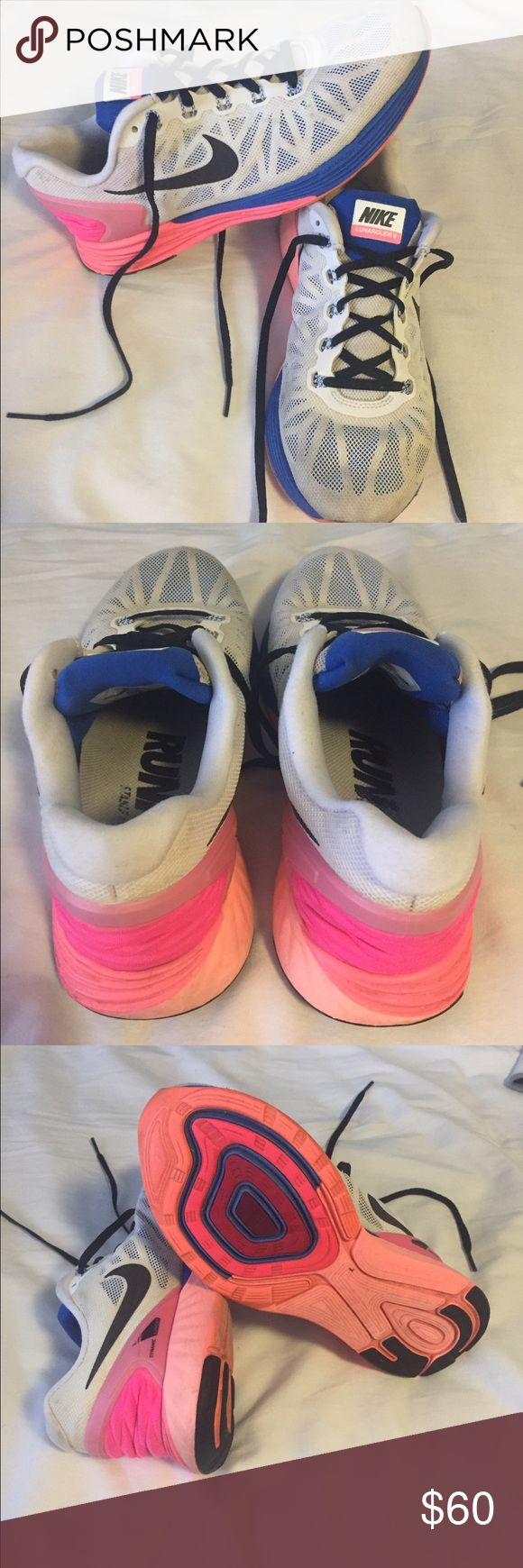 Nike Lunarglide 6 Sneakers Worn but FAR from being worn out(check bottoms to see they're not worn out) . This comfortable sneaker provides excellent support for running and everyday activities. Don't be afraid to make an offer!😊 Nike Shoes Sneakers