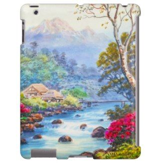 Farm By Flowing Stream K Seki watercolor scenery Case-Mate Barely There iPad Case #farm #mountain #scenery #case #ipad #apple #japan #japanese #spring #beautiful #river #gift #art