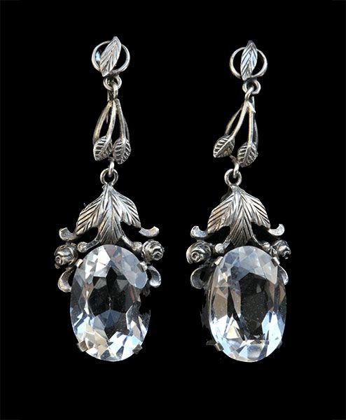 Bernard Instone. Arts and Crafts earrings.    Silver and crystal. Sold by Tadema Gallery.