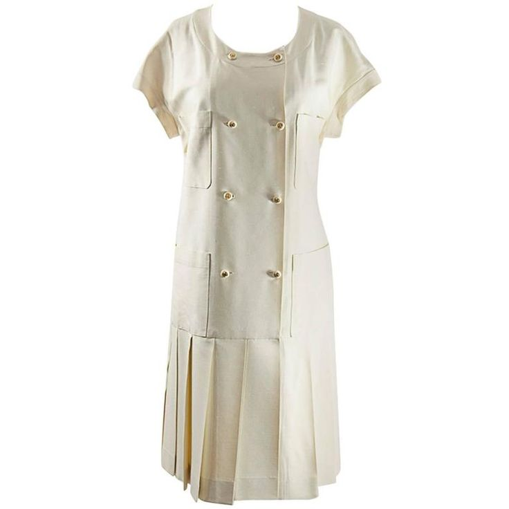 Chanel Creme Silk Pleated Dress | From a collection of rare vintage day dresses at https://www.1stdibs.com/fashion/clothing/day-dresses/