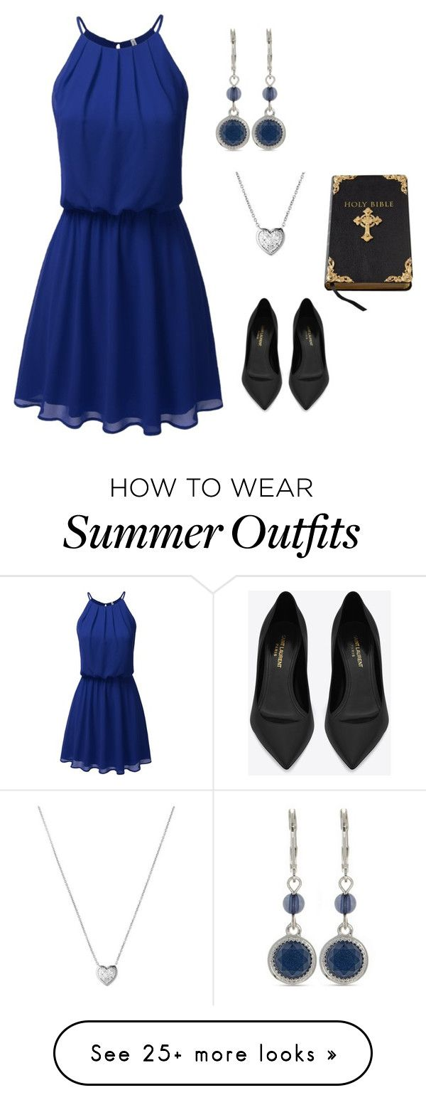 """Summer Church Outfit"" by amanda-o-twomey on Polyvore featuring Nine West, Links of London, Yves Saint Laurent and Kimberly Wolcott"