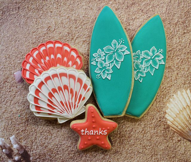 surfboards cookies | Surfboards & Seashell Cookies | Flickr - Photo Sharing!