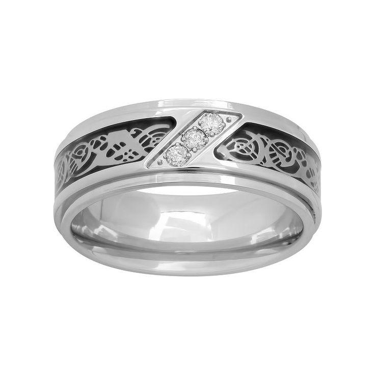 1/10 Carat T.W. Diamond Stainless Steel & Carbon Fiber Celtic Dragon Band - Men, Size: 10.50, White