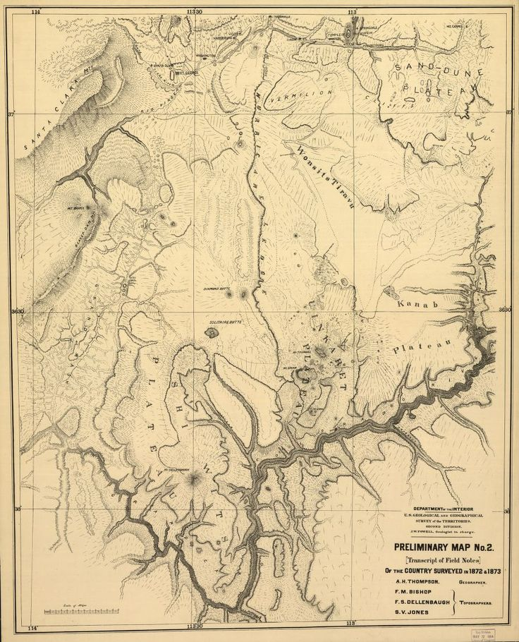 Preliminary map of the Grand Canyon area, surveyed in 1872. The map was prepared by John Wesley Powell, A.H. Thompson, Francis Bishop, Frederick Dellenbaugh and S.V. Jones. Powell led two expeditions exploring the Green and Colorado rivers, including the first passage of white men through the Grand Canyon. Published 1873. Library of Congress Geography and Map Division.