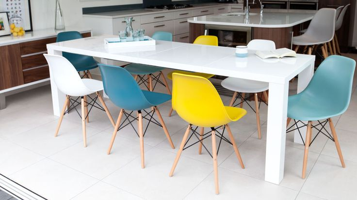 Large White Gloss and Eames Extending Dining Set