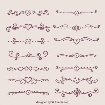 Set de bonitos ornamentos retro dibujados a mano